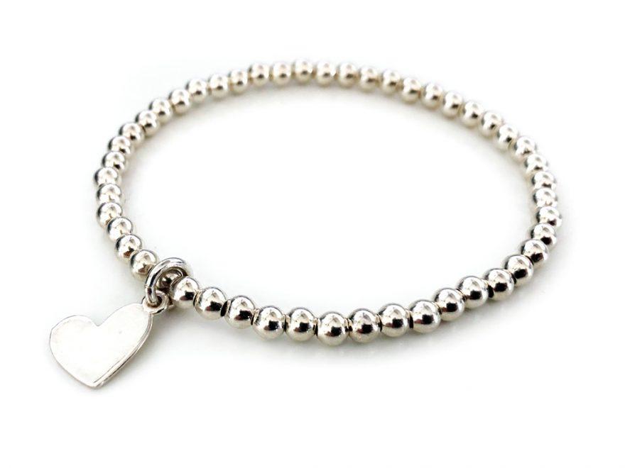 Kugelarmband aus Silber mit Herz